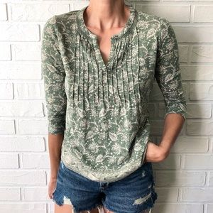 Lucky Brand boho green floral long sleeve top